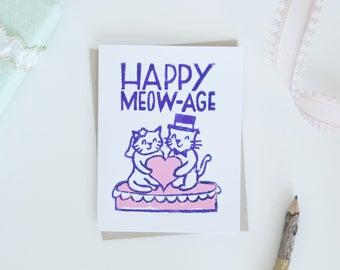 Happy Marriage Kitty Wedding Greeting Card, Kitty Bride and Groom, Funny Cat Puns, Lino Cut Cards, Block Printed Cards