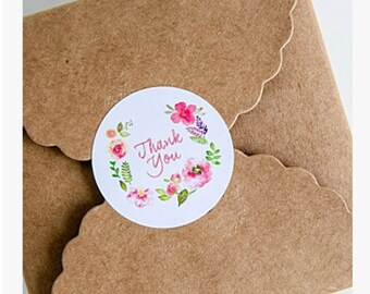 10 round white stickers floral stickers