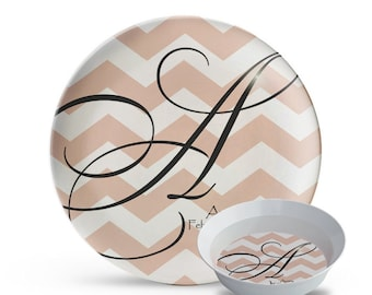 Personalized Plate and Bowl Set, Chevron Melamine 2 Piece Plate Set, Personalized Chevron Monogram Plate Set