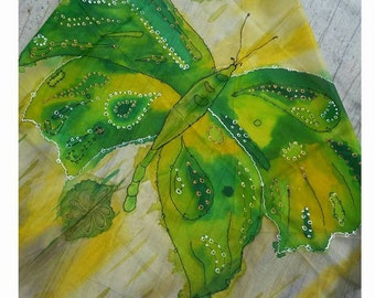 "Silk scarf, handpainted green,yellow,brown butterfly,wedding,birthday,mother,daughter present,woman unique gift.Approx 74x74cm/ 29""x29""inch"