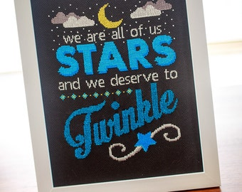 Twinkly Stars Cross Stitch Downloadable Pattern / Inspirational Typography Marilyn Monroe Quote Moon Stars Night Sky