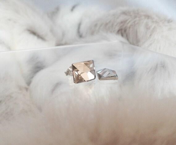 Crystal Silver or Hypo Titanium Stud Earrings Swarovski Silver Shade Rhinestone Cosmic Baguette Rectangle Minimalist Stud Fashion Jewelry