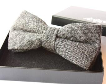 Nœud Papillon en laine chevron gris anthracite pour homme élégant