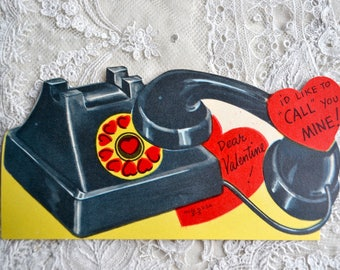 Vintage Valentines Day Card - Old Fashioned Heart Telephone - Used School Valentine