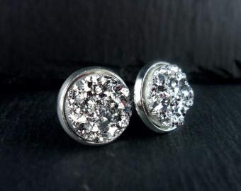 Earrings, earrings, Stud Earrings, Cabochon, glitter, resin, silver, 1 pair, silver, 274