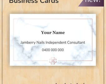 Marble Business Card with brushed copper logo - new Jamberry branding