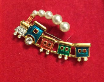 Vintage Butler Brooch Holiday Train Enamelled Gold Toned with Pearl and Rhinestone Accents