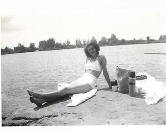 """Vintage Snapshot """"Bathing Beauty"""" Pretty Girl Wearing Two-Piece Swimsuit 1940's Old Photo Black & White Found Vernacular Photography"""