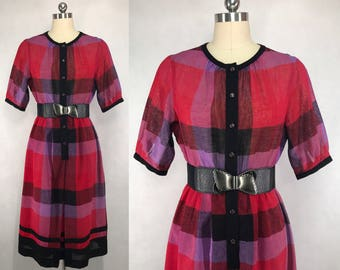 Vintage Japanese Plaid Dress / Summer Dress / Party Dress / Day Dress / Made in Japan / Size Small Medium