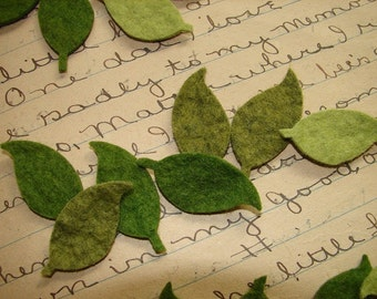 Wool Felt Leaves - Great with Flowers - Set of Medium