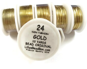 Gold Plated Wire - 24 Gauge Wire for Making Jewlery, Non Tarnish Wire, Wire Wrapping Supplies