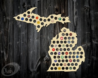 Michigan Cap Map Etsy - Michigan bottle cap map