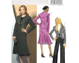 Jacket Skirt Pants Pattern Butterick 4869 Dressy Suit Shawl Collar Jacket Godet Skirt Trousers Womens Sewing Pattern Size 8 10 12 14 UNCUT