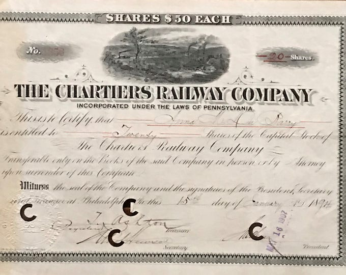 Bono of the American company Chartiers Railway of 1894.