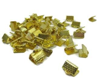 Gold Toned Iron Ribbon Crimps 10 mm