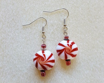 Glass Peppermint Candy Earrings