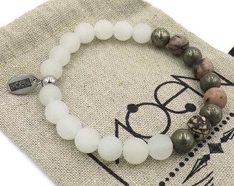 MOEN Bracelet Aurum/white Jade, pyrite and Rodhonite