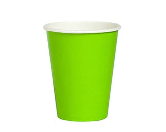 GREEN PAPER CUPS (Set of 8) - Lime Green Paper Cups (266ml / 9oz)