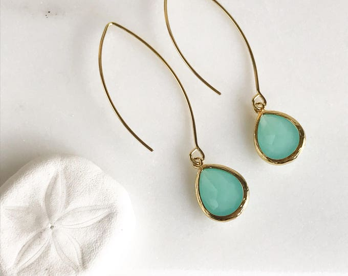 Aqua Gold Drop Earrings. Mint Aqua Teardrop Drop Earrings.  Gift for Her.  Dangle Earrings. Modern Drop Earrings. Bridesmaids Gift.