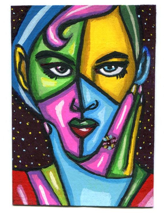 aceo atc art abstract woman thinking original painting modern  acrylics miniature paintings Elizavella