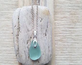 Pastel blue pendant, silver chain, pastel glass, seaglass pendant, seaglass