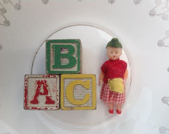Vintage mini doll and three wooden blocks 1960s