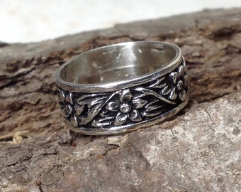 Flower Ring Band Sterling Silver