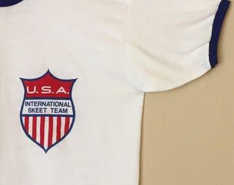 80s USA International Skeet Team Ringer Tee