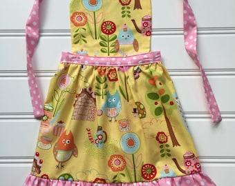 Little Girl Apron, Toddler Apron, Child Apron, Kids Cooking Apron, Kid Apron, Kitchen Apron, Pink Apron, Owl Apron, Yellow Apron