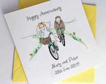 Bicycle Wedding Card or  Bike Anniversary Card