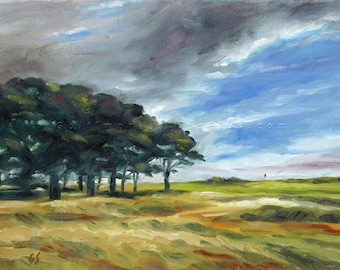 Man Cave Gift. Golf Painting. Portmarnock Golf Club, Ireland. Print of original oil painting.