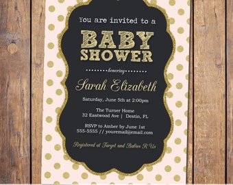 Pink and Gold Baby Shower Invitation, modern shower invitation with glitter, baby girl shower invite, digital file, printable (JPD2)