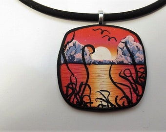 Necklace, Pendant, Sunset, Orange, Red, White, Gift for Her