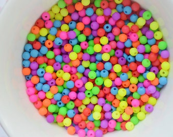 4mm Matte Neon Round Beads - set of 200