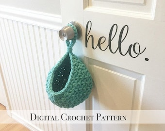 DIY Crochet Pattern / Small Hanging Basket Pattern / Door Knob Basket Pattern / Crochet Toy Storage Basket Pattern / DIY PDF Crochet Pattern