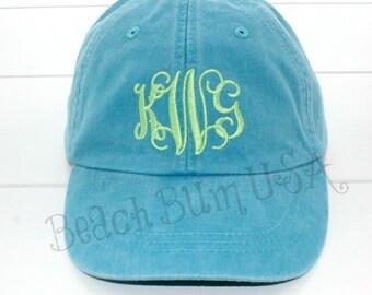 Monogram Baseball Cap Personalized Beach Hat Caribbean Blue