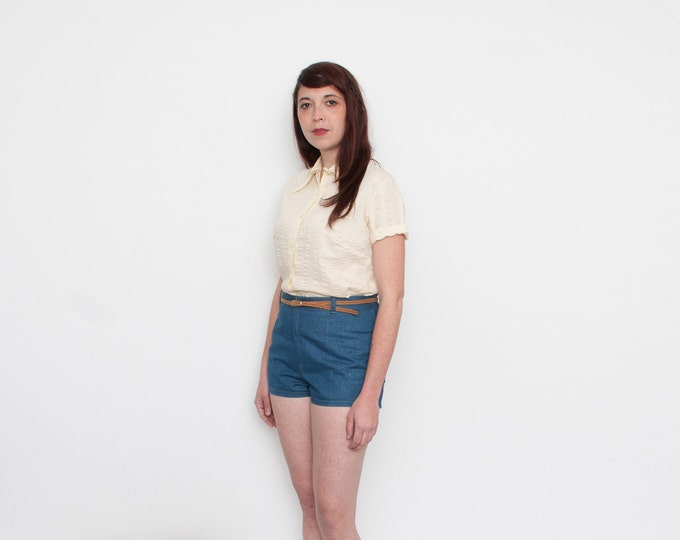 NOS vintage Beige 70s blouse size L
