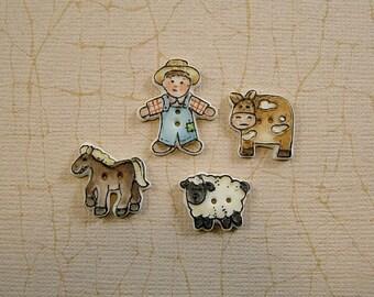 Farm Boy Buttons set of 4