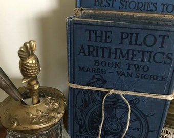 VINTAGE BOOK STACK ~ Blue Books ~ Tattered Books ~ Blue Book Stack ~Home Decor ~Baby Shower ~Childrens' Books ~Old Books ~Bridal Centerpiece