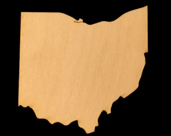State of Ohio Shape Natural Craft Wood 1763