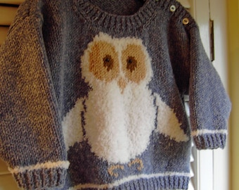 Owl Sweater KNITTING PATTERN in PDF | Oliver Owl Jumper in Toddler and Child sizes makes a lovely diy gift, instant download pattern
