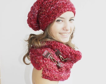 Red Scarf / Hat Warm set Knitted Scarf and hat Oversized, Chunky Knit, Winter , Cozy Scarf, Women's Gifts, For Her, Leather details