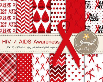 AIDS HIV Awareness Digital Papers and Clipart, Red Ribbon for Digital Scrapbooking, Invitations, Signage, Planner