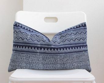 Hmong Blue Batik Indigo Lumbar Pillow Cover CL17