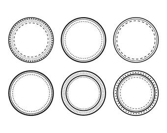 Notary Stamp Frame Set #2 | Circle Dashed Dotted Picture Border Graphic | Digital Illustration Icons | Personal or Commercial Use