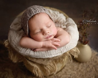 "Newborn bonnet, baby alpaca, lace ""frost flowers"", photography props"