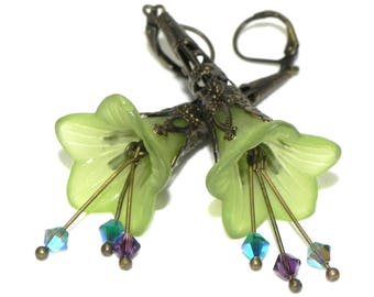 Green Lucite Trumpet Flower Earrings - Victorian green Lily - Brass Filigree Cone - Swarovski crystals