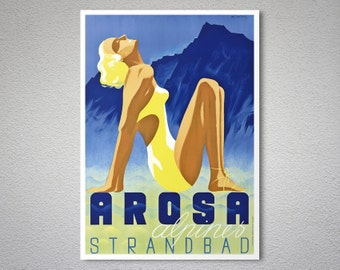 Arosa Alpines Strandbad Travel Poster - Poster Print, Sticker or Canvas Print / Gift Idea