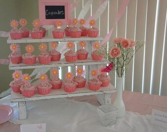 The Small Cupcake Stand - 3 Tiered Rustic Painted & Distressed Wood Display Stand - Weddings - Parties - Craft Fairs - Boutiques
