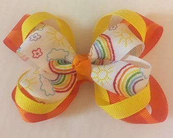 Orange and Yellow Rainbow Bow ~ 4 inches